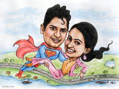 Superman theme couples caricature
