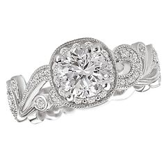 Swirl Designed Semi-Mount Diamond Engagement Ring in 14kt White Gold