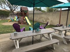 Bought some $98 picnic tables from Lowes and sanded them. I painted the bottom with a solid paint & primer in white, and did the tops with a semi transparent stain in grey. The Hubbs drilled holes for umbrellas and just like that I transformed my patio into a beautiful seating area. I'm completely in love with it.