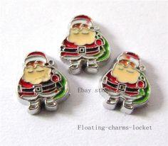 10pcs Santa Claus Floating charms For Memory Glass Locket Free shipping FC325 #LocketCharms