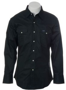 Work Shirt - Wrangler® Dark Olive Twill Long Sleeve Workshirt