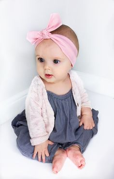 Pink Baby Headband / Baby Headband / Pastel Baby Headband / Baby Gift / Jersey Headband / Baby Topknot / Infant Headband / Baby Accessories  Baby Outfit of the Day - We paired our Little Daisy Dot 'Pastel Pink Solid Baby Headband' with this cool grey/blue linen romper, and pale pink cardigan, both by Next Kids