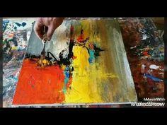 con naranja amarillo gris turquesa usando trapo pincel espátula etc muy b