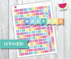 Printable Weekend Banner Stickers, perfect for EC Planner and other Planners. de SandiaStickers en Etsy