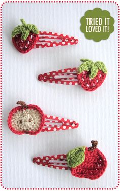 Adorable crochet fruit hair clips