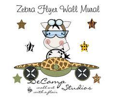 Zebra Flyer Aviator Wall Art Mural Decal for baby boy nursery or children's room decor #decampstudios