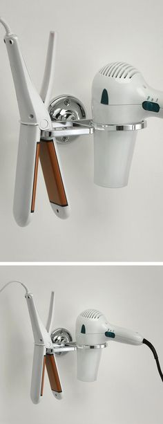 Combination Flat Iron & Blow Dryer Holder. I need it I hate mine lying around
