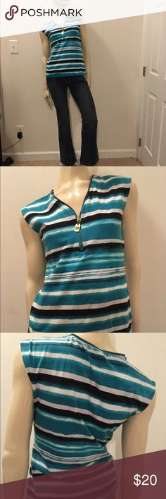 Size small Michael Kors zipper neckline tank top Cute blue and white striped Michael Kors tank top with zipper detailing around the neckline, great condition and gently used. MICHAEL Michael Kors Tops Tank Tops