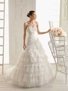 A-line Sweetheart Organza Chapel Train White Tiered Wedding Dress at Millybridal.com