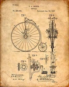 Bicycle Patent Print From 1887 - Patent Art Print - Patent Poster - Bike Print Vintage Wall Art, Vintage Walls, Velo Retro, Bicycle Print, Bicycle Design, Cycling Art, Cycling Quotes, Cycling Jerseys, Patent Drawing
