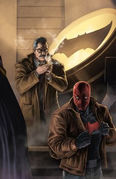 Batman & The Dark Knights of Gotham — Commissioner Gordon and Red Hood by SamDelaTorre