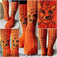 Jekku socks by Titta J's Fantasy Socks Fair Isle Knitting, Knitting Socks, Hand Knitting, Knit Art, Wool Socks, Slipper Socks, Animal Design, Womens Slippers, Knit Crochet