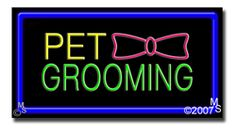 """Pet Grooming, Logo Neon Sign - 20"""" x 37""""-ANS1500-1068-R  37"""" Wide x 20"""" Tall x 3"""" Deep  Flashing Border """"ON/OFF"""" switch  Sign is mounted on an unbreakable black or clear Lexan backing  Top and bottom protective sides  110 volt U.L. listed transformer fits into a standard outlet  Hanging hardware & chain included  6' Power cord with standard transformer  For indoor use only  1 Year Warranty on electrical components."""