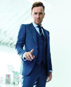 Ewan McGregor, suit looks great Gentleman Mode, Gentleman Style, Ewan Mcgregor, Blue Suit Wedding, Wedding Suits, Three Piece Suit, 3 Piece, Mens Fashion Suits, Casual Winter Outfits