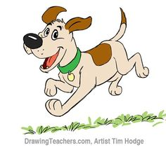 DRAW DISNEY STYLE CARTOON DOG. How to draw a dog step by step by Tim Hodge. An easy dog to draw. The first step is to rough in the dog's head and body. Next, rough in his eyes and pupils, along with his neck.