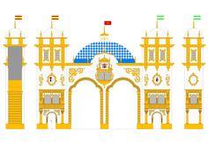 Diseño de la Portada de la Feria de abril de Sevilla 2016, inspirada en el Pabellón de Argentina de la Exposición de 1929. Autor: Eduardo Morón, de L'image Marketing  http://www.limagemarketing.es/portfolio/portada-feria-abril-sevilla-2016/ Agencia de Publicidad y Comunicación en Sevilla