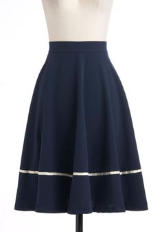 Streak Clearly Skirt - Blue, White, Casual, Nautical, A-line, Long, Work, Fit & Flare, Pinup, Top Rated