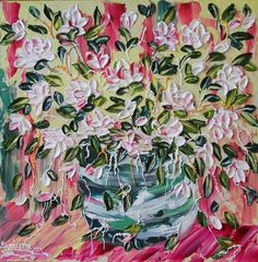 Traveling Rose  Abstract Art Floral Impasto by CreativeWomanhood, $600.00