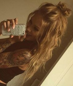 Top knot messy hair