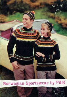 Norwegian Sportswear - wild multi-coloured fair isle, free vintage knitting pattern for ladies and gents sweaters, matching caps and a girls jumper. Fair Isle Knitting Patterns, Sweater Knitting Patterns, Knitting Yarn, Free Knitting, Fair Isle Pullover, Norwegian Knitting, Nordic Sweater, Fair Isles, Vintage Knitting
