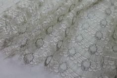 Quality fabric - Ivory French leavers lace with silver thread, double scalloped, vintage lace, antique lace,