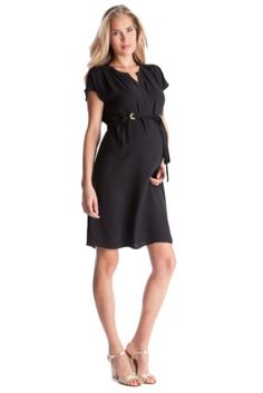 Women's Seraphine 'Camden' Eyelet Belt Maternity Shift Dress, Size 8 - Black