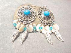 Boucles d'oreilles crochets Argent 925 et pendentifs style indien : Boucles d'oreille par lizou-sen-fout