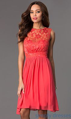 Short Sleeveless Dress with Lace Bodice at SimplyDresses.com