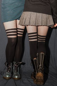 Opaque Faux Thigh High Tights with Striped Fishnet Accent