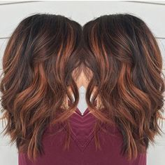 Red brown balayage by Rebecca at Avante Salon and Spa, West Chester PA …