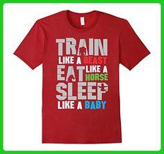 Mens Train Like A BEAST!! Awesome Gym Motivational T Shirt Small Cranberry - Workout shirts (*Amazon Partner-Link)