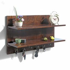 Buy Wall Shelf Solid Wood With Dark Finish amp 2 Racks Alchemy Online