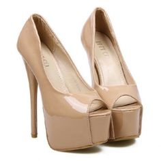 Elegant Patent Leather and Sexy High Heel Design Peep Toed Shoes For Women, NUDE, 39 in Peep Toe | DressLily.com