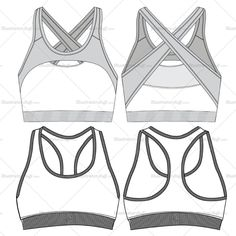 Women's sports bra fashion flat vector template in two different styles. This file includes the front and back views. Its easy to edit and use.