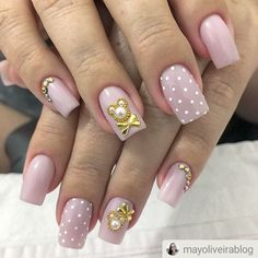 Ideas Unique Manicure Ideas Weddings For 2019 Manicure Colors, Manicure And Pedicure, Nail Colors, Manicure Ideas, French Manicure Short Nails, Pointy Nails, Nail Jewelry, Bridal Nails, Rhinestone Nails