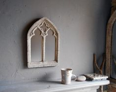 Small Stone Effect gothic double light arched window mirror   Etsy Arched Window Mirror, Arch Mirror, Arched Windows, Gothic Windows, Church Windows, Vintage Windows, Gothic Mirror, Window Styles, Vintage Candles