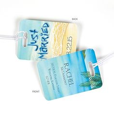 At the Beach Luggage Tag for #destination wedding - http://invitations.michaels.com/Personalized-Wedding-Accessories/Luggage-Tags/3049-MKXNTL122BB5K-At-the-Beach-Luggage-Tag.pro