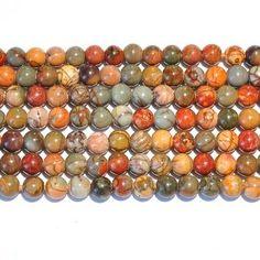 Dakota Stones 8mm Round Large Hole Red Creek Jasper Gemstone Beads
