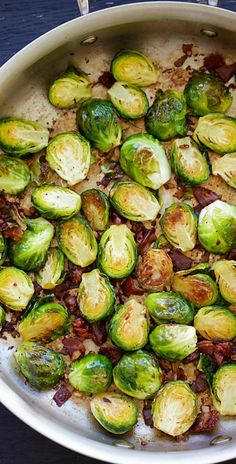 Garlic-Prosciutto Brussels Sprouts – roasted brussels sprouts with smoky prosciutto. Saute on skillet and finish in oven, 20 mins only   rasamalaysia.com