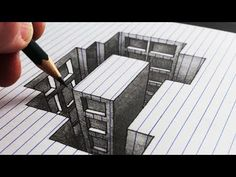 (113) How to Draw a Hole Building: Line Paper 3D Trick Art - YouTube