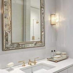 Antiqued Mirror Beveled Washstand Mirror