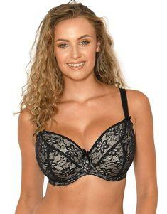 31a48911fd863 Flirtelle Lena Padded Balconette Bra Black Lace