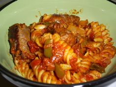 Robust Italian Sausage & Pasta (Crock Pot) I used a Red Pepper because that's all I had.  Added more Garlic and Oregano and Basil