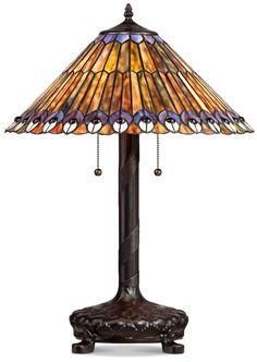 Peacock Motif Robert Louis Tiffany-Style Table Lamp -