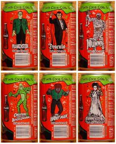 Frankenstein, Dracula& The Mummy for Coca Cola---I would KILL for these!!!