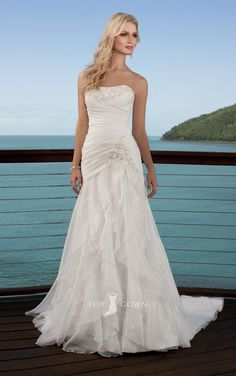 strapless a-line asymmetrical ruched bodice tiered layered skirt wedding dress