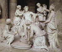 François Girardon (1628-1715), Thomas Regnaudin (1622-1706) Apollon servi par les Nymphes, 1666-1675 Marbre Versailles, châteaux de Versailles et de Trianon. - 1) CLASSICISME ET SCULPTURE: La sculpture recherche aussi les formes parfaites et s'inspire des oeuvres antiques. FRANCOIS GIRARDON (1628_1715), sculpteur du roi, va décorer les jardins de Versailles de statues monumentales. Dans une grotte du parc, il place ce groupe d'Apollon servi par les Nymphes.