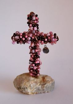 Beaded Cross made of Copper Wire multi color by crossesintherocks