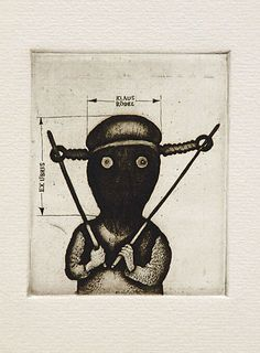 Ex Libris for Klaus Rödel (1976) by Lithuanian artist Stasys Eidrigevicius (b.1949). Etching/drypoint, 85 x 70 mm. via the artist's site