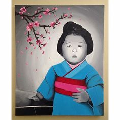 """【artbyshana_】さんのInstagramをピンしています。 《""""Grandma"""" - Acrylic Paint. This painting was a recreation of a black and white photo I have of my grandmother. She was born in a Japanese internment in Vancouver where her culture was stripped away. This photo is a re-imagination of what her childhood could have been if she was able to celebrate being Japanese. 🌸 • • • • • #art #painting #acrylic #japanese #kimono #cherryblossoms #portrait #instaart #creative #recreation #originalartwork #visualsoflife…"""